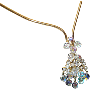 Vintage Aurora Borealis Crystal Dangle Necklace on a Gold Tone Snake Chain