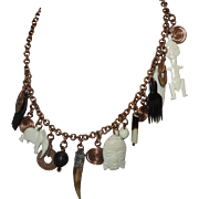 Vintage Ethnic Talisman Necklace in Copper