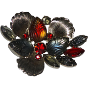 D&E Juliana Abstract Floral Brooch with Metal Accents
