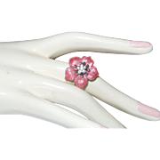 Signed KJL Pink Enamel Flower Ring - Red Tag Sale Item