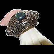 Ethnic Silver Bracelet Bangle Cuff With Labradorite Gemstone