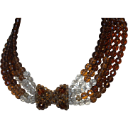 Signed Coppola & Toppo Glass Beaded Bowtie Necklace