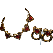 Signed Les Bernard For Vogue Runway Red Heart Necklace and Earrings