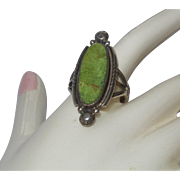 Signed RB Sterling Green Turquoise Ring Set In Silver