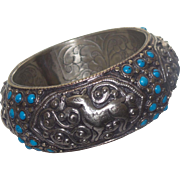 Tibetan Silver Bangle With Chinese Turquoise - Red Tag Sale Item