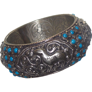 Tibetan Silver Bangle With Chinese Turquoise
