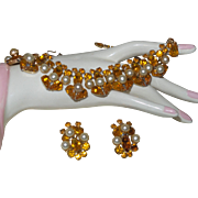 Vintage Yellow Rhinestone and Faux Pearl Necklace/Earrings