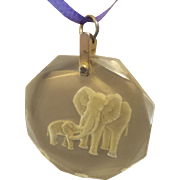 Vintage Reverse Carved Lucite Pendant