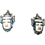 Vintage Selro Earrings with White Oriental Face