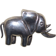 Sterling Silver Elephant Brooch Marked 925