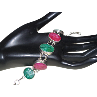Natural Ruby and Emerald Bracelet Set In Silver