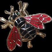 Signed Crown Trifari Figural  Bee Brooch in Enamel