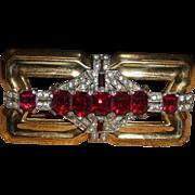 Signed McCelland Barclay Ruby Red Rhinestone Brooch