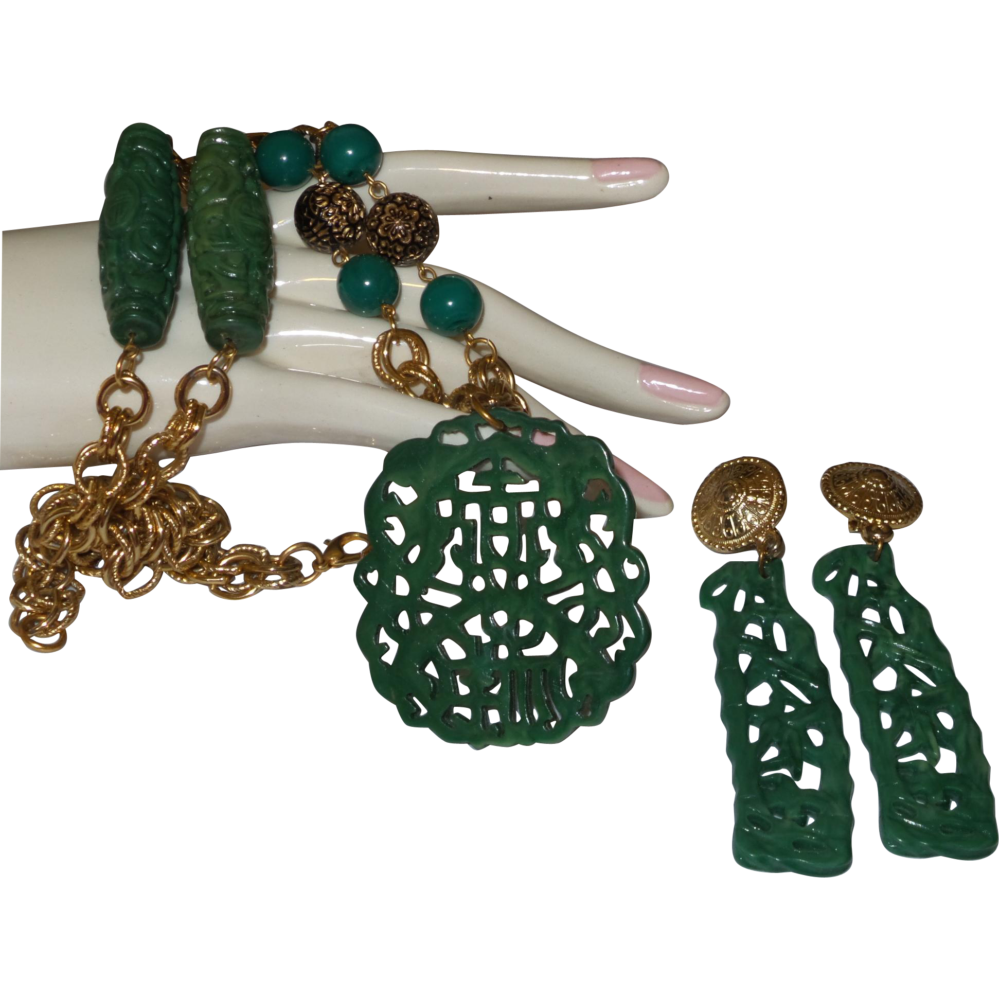 Vintage Faux Green Jade Necklace/Earrings From Pearlgirls