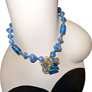 Signed Miriam Haskell Blue Glass Necklace