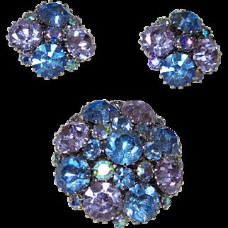 Signed Weiss Large Blue Rhinestone Brooch/Earrings