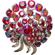 Signed ART Cherry Aurora Borealis Crystal Brooch