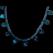 Artisan Created Blue Swarovski Faceted Briolette Necklace