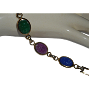 Egyptian Revival, Vintage Incised Glass Scarab Bracelet with Hieroglyphs