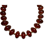 Signed KJL Faux Amber Necklace