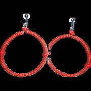 Vintage Red Coral Bead Earrings