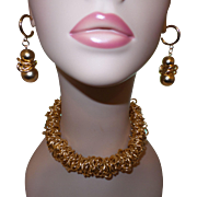 Vintage Gold Tone Metal Necklace and Earrings