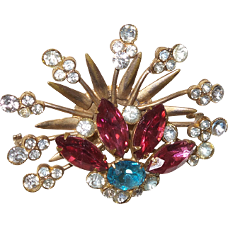 Vintage Rhinestone Spray Brooch in Pink, Blue and Clear Stones