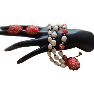 Signed Miriam Haskell White Milk Glass and Faux Coral  Bracelet/Earrings