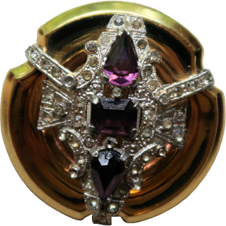 Signed Vintage McClelland Barclay Brooch with Amethyst Rhinestones
