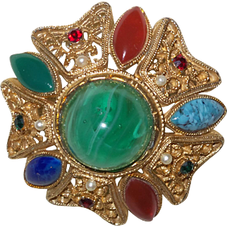 Vintage Unsigned Schreiner Brooch with Faux Lapis, Carnelian, Turquoise and Jade Stones