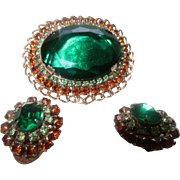 Vintage D & E Brooch/Earrings with Large Green Glass Oval Stone and Rhinestones