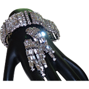 Unsigned Weiss Clear Rhinestone Wide Vintage Bracelet with Earrings