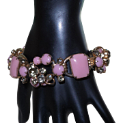 Juliana  D&E Pink Milk Glass Cabochons and Smoke Rhinestones 5 Link Bracelet