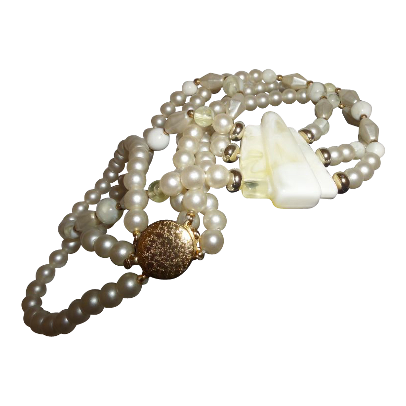 Vintage Triple Strand Lucite/Simulated Pearl Necklace from ...