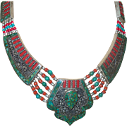Vintage Tibetan Necklace with Turquoise, Coral and Silver Tone Metal