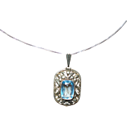 Vintage Blue Topaz Pendant with Sterling Silver Chain