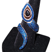 Vintage One of a Kind Blue Sapphire Snake Ring