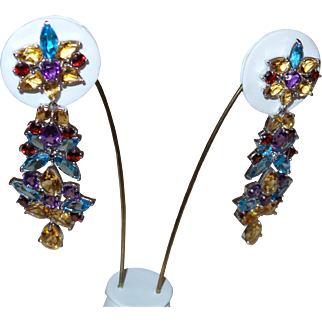 Vintage Sterling Silver Chandelier Earrings with over 100 Carats of Semi-Precious Stones