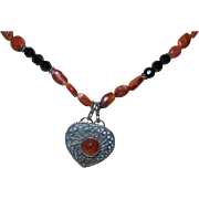Artisan Created Amber, Onyx and Bandied Carnelian Necklace with Heart Pendant
