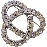 Signed Coro White Rhinestone Brooch With Double Circles
