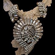 Vintage Unsigned Eisenberg Brooch/Earrings in Brilliant White Rhinestones