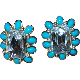 Vintage Signed KJL Earrings With Faux Turquoise and Large Emerald Cut Rhinestones and Original Card