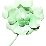 Vintage Early Plastic Flower Brooch/Earrings In Bright Green