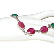 Vintage Natural raw Ruby and Emerald Bracelet in Silver