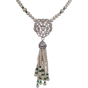 An Exceptional Cultured Pearl and Polished Emerald Bead Tassel Necklace