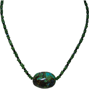 Artisan Created Necklace With A Southwestern Green Turquoise Nugget and Green and Black Onyx Spacers
