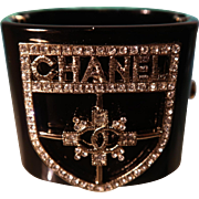 Chanel Black Resin Cuff Bracelet With Brilliant Clear Rhinestones