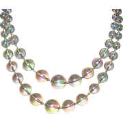 Signed Richelieu  Double Strand Necklace of Rainbow Moonstone