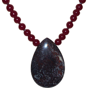 Artisan Created Necklace of Natural Green/Brown Opal and Carnelian