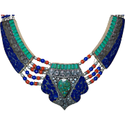 Vintage Ethnic Lapis, Coral and Inlaid Turquoise Set in Silver Tone Metal